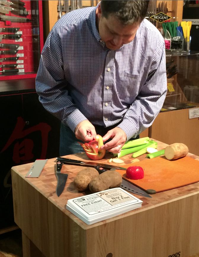 The store hosted Knife Demos during the event in addition to sharpening knives!